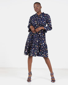Utopia leaf print flare dress navy