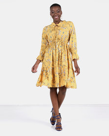 Utopia Ditsy Floral Flare Dress Ochre