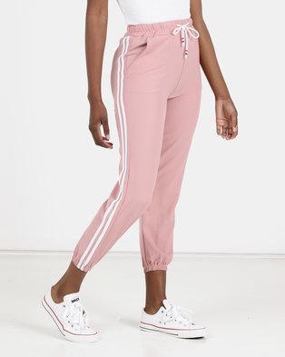 Utopia Side Stripe Joggers Pink
