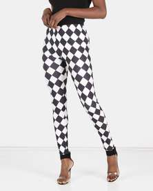 Utopia Harlequin Printed Leggings Black/White