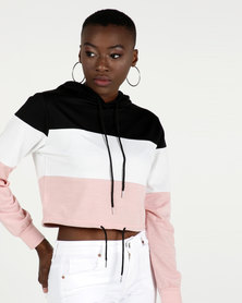 Utopia Colourblock Sweattop Black/Pink