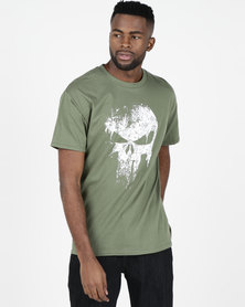 Utopia Skull Print T-shirt Olive