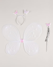Jewels and Lace Butterfly Wings Set White