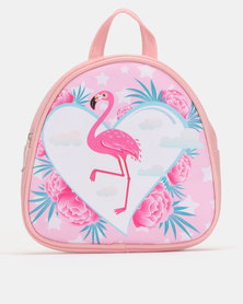Jewels and Lace Flamingo Backpack Pink