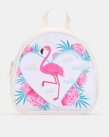 Jewels and Lace Flamingo Backpack White