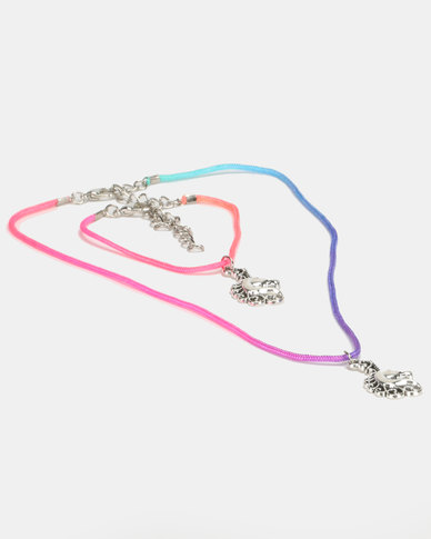 Jewels and Lace Silver Unicorn Necklace And Bracelet Set Multi