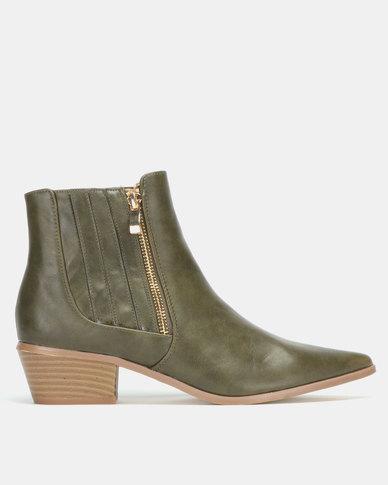 Jada Elastic Gusset Boots Olive