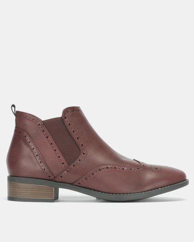 Jada Brogue Ankle Boots Burgundy