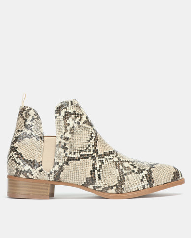 Jada Snake Slip On Boots Nude