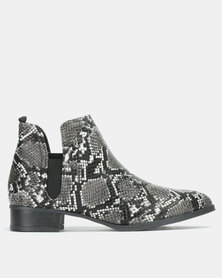 Jada Snake Slip On Boots Black/Grey