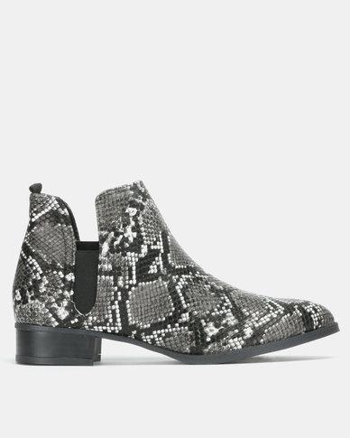 Jada Snake Slip On Boots Black/Grey