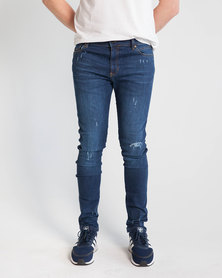 Emme Jeans Skinny fit Tinted Wash Ripped Jeans Blue