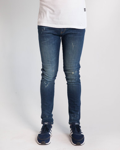 Emme Jeans Skinny Fit Dark Wash Ripped Jeans Blue