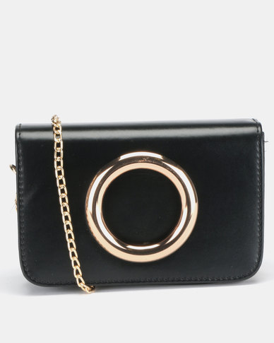 All Heart Ring Detail Crossbody Bag Black