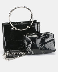 All Heart Marble Crossbody Bag Black