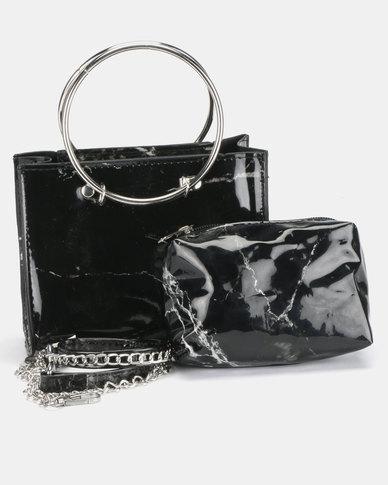 All Heart Marble Crossbody Bag Black