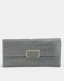 All Heart Faux Croc Purse Grey