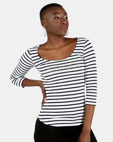 Sissy Boy Stripe Mishu One Up Stripe Square Neck Logo Top Navy/White