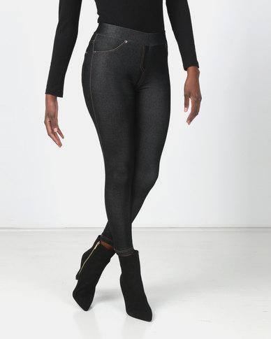 Utopia Knit Denim Look Leggings Black