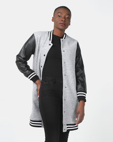 Utopia Longer Length Baseball Jacket With PU Sleeves Grey