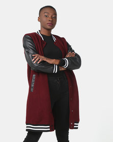 Utopia Longer Length Baseball Jacket With PU Sleeves Burgundy