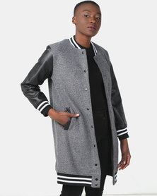 Utopia Longer Length Baseball Jacket With PU Sleeves Charcoal