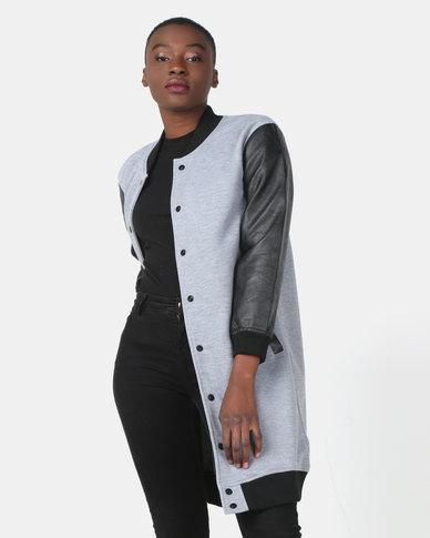 Utopia Longer Length Baseball Jacket With PU Sleeves Grey Melange