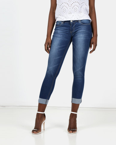 Utopia Mid Blue Skinny Jeans With Turn Up