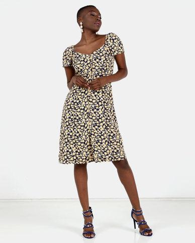 Brave Soul Midi Dress with Short Sleeves Multi