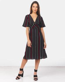Brave Soul Short Sleeve Midi Dress Multi