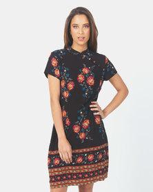 Brave Soul Short Sleeve Dress with Side Button Detail Black