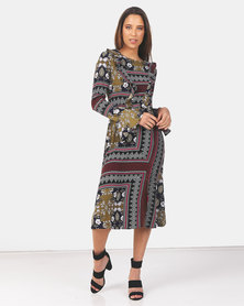 Brave Soul Long Sleeve Maxi Dress with Bell Sleeve Green