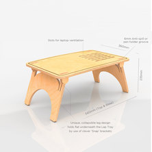 DeskStand Wavy Sit-Stand Bed Laptop Table Natural