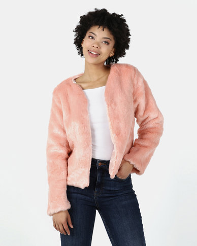 I Am Woman Birdie Faux Fur Jacket Pink