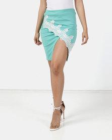 Elmerane du Plessis Original Mint Green Pencil Skirt with White Lace Detail
