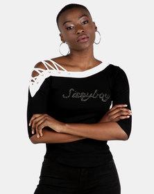 Sissy Boy Rayo Asymmetric Logo With Shoulder Straps & Eyelets Black/White