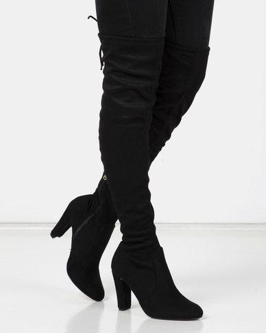 Utopia OTK Heeled Boots Black