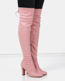 Utopia OTK Heeled Boots Pink