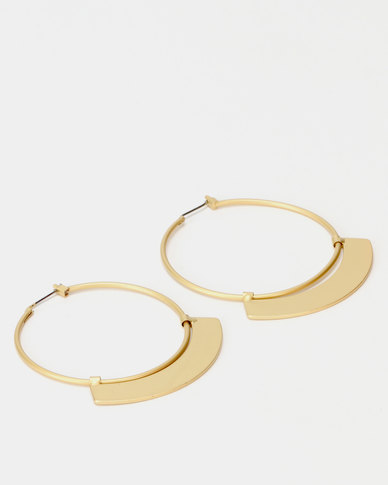 Lily & Rose 45mm Metallic Shield Hoop Earrings Gold