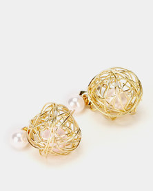 Lily & Rose Pearl Wire Ball Earrings Gold