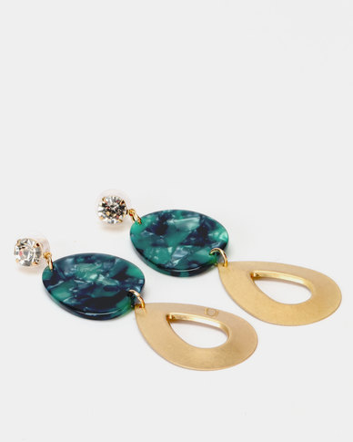 Lily & Rose Diamante Resin Earrings Gold And Emerald