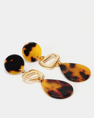 Lily & Rose 3 Shape Resin Earrings Brown/Gold