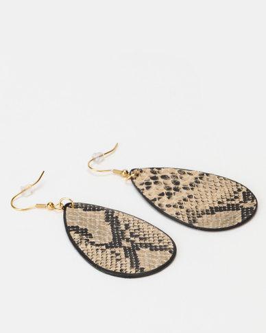 Lily & Rose Small Snakeskin Teardrop Earrings Cream