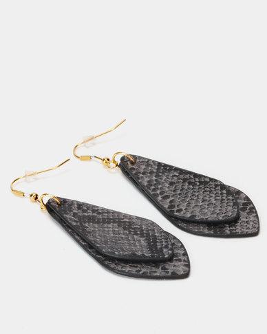 Lily & Rose Snakeskin Long Teardrop Earrings Black