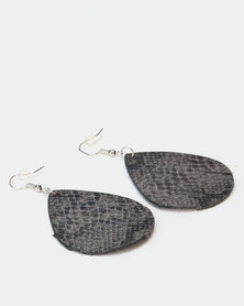 Lily & Rose Snakeskin Teardrop Earrings Black