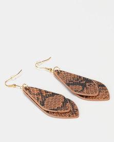 Lily & Rose Snakeskin Teardop Earrings Brown