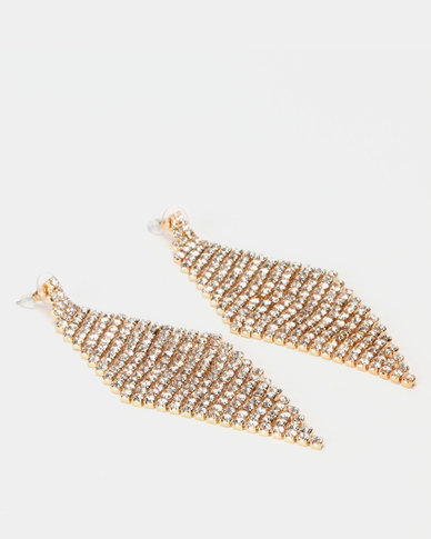Lily & Rose Diamante Diamond Drop Earrings Clear