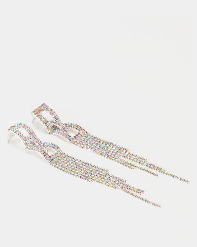 Lily & Rose Diamante Square Drop Earrings Silver