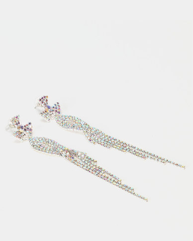 Lily & Rose Diamante Round Drop Earrings Silver