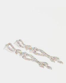 Lily & Rose Diamante Chandelier Earrings Silver